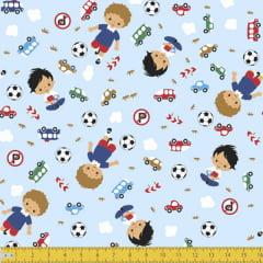 Tecido Tricoline Meninos e Brinquedos Fundo Azul 8033v01