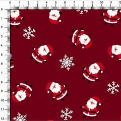 Tecido Tricoline Natalino Mini Noéis Fundo Vermelho 4355v02