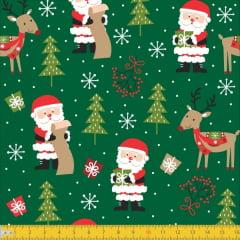 Tecido Tricoline Natalino Noel e Renas Verde 7122v02