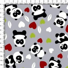 Tecido Tricoline Pandas e Corações Fundo Cinza 4357v05