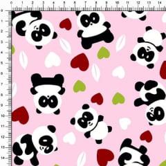 Tecido Tricoline Pandas e Corações Fundo Rosa 4357v03