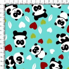 Tecido Tricoline Pandas e Corações Fundo Tifanny 4357v01