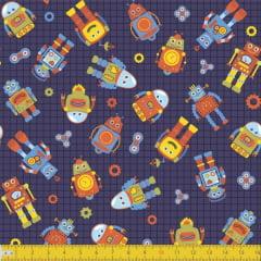 Tecido Tricoline Estampado Robôs Miniaturas Fundo Azul Escuro 8035v02