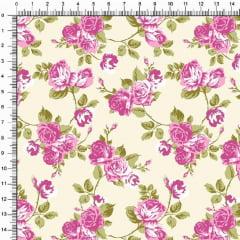 Tecido Tricoline Estampado Floral Roseiras Fundo Amarelo Claro 5364v02