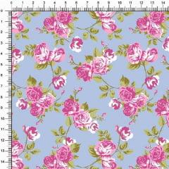 Tecido Tricoline Estampado Floral Roseiras Fundo Azul Claro 5364v03