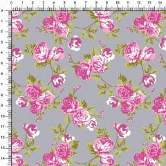 Tecido Tricoline Estampado Floral  Roseiras Fundo Cinza 5364v05