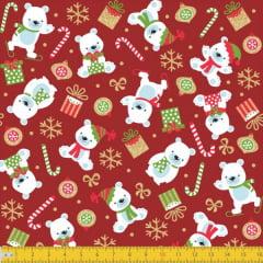 Tecido Tricoline Urso Polar Natalino 6167v01