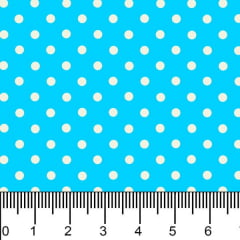 Tecido Tricoline Estampado Bolinhas Micro Branco Fundo Azul Turquesa 1001vr041