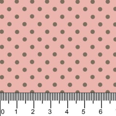 Tecido Tricoline Estampado Bolinhas Micro Marrom Fundo Rosa 1001vr084