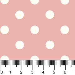 Tricoline Estampado Bolinhas Grandes Branco Fundo Rosa 1554vr081