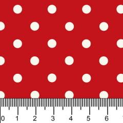 Tricoline Estampado Bolinhas Médias  Branco Fundo Vermelho 1039v106