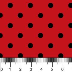Tricoline Estampado Bolinhas Médias Preto Fundo Vermelho 1039v011