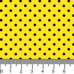 Tecido Tricoline Estampado Bolinhas Micro Poá Preto Fundo Amarelo 1001vr114