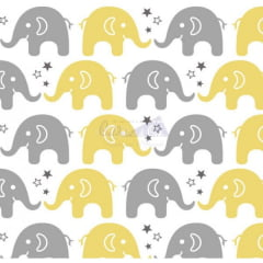 Tricoline Estampado Elefantes Maya Amarelo e Cinza 180598v06