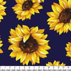 Tricoline Estampado Floral Girassol Fundo Azul Marinho 6410-6