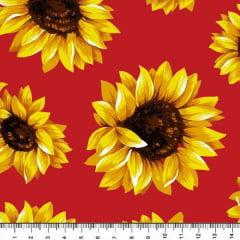 Tricoline Estampado Floral Girassol Fundo Vermelho 6410-5