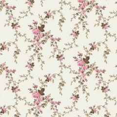 Tricoline Estampado Floral Ramificado Sarah Rosa Com Marrom 200118v48