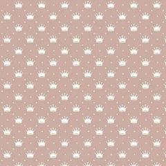 Tricoline Estampado Mini Corôa Fundo Rosa Seco  1143vr053
