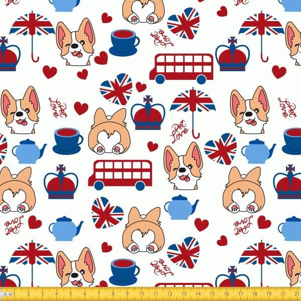 Tecido Tricoline Estampado Cachorro Inglês 6086v01