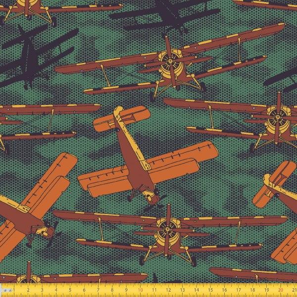 Tecido Tricoline Estampado Aviões Antigos Laranja 5029v02