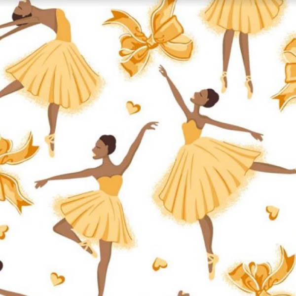 Tecido Tricoline Estampado Bailarinas  Amarelo 12206