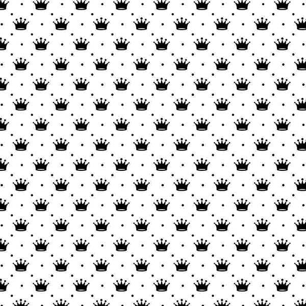 Tecido Tricoline Estampado Mini Coroas Fundo Branco 1143vr103