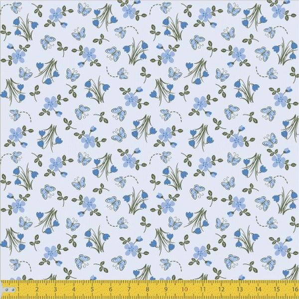 Tecido Tricoline Botões de Flores Azul Claro 4077v02