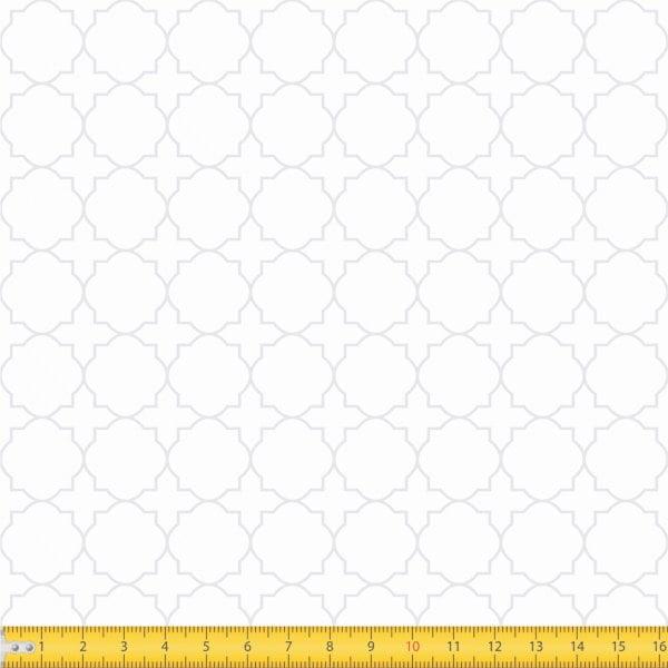Tecido Tricoline Estampado Arabesco Geométrico Branco Sobre Branco 1224v203