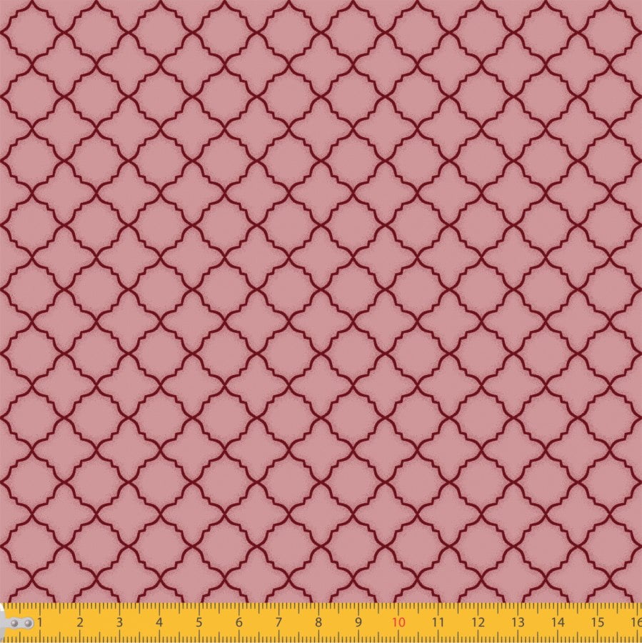 Tecido Tricoline Estampado Arabesco Português Rose 2011v03