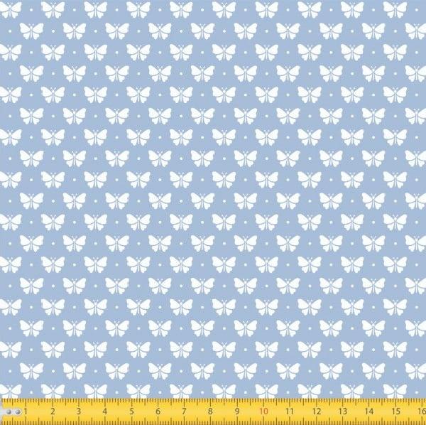 Tecido Tricoline Estampado Borboletas Fundo Azul Bebe 1228v082