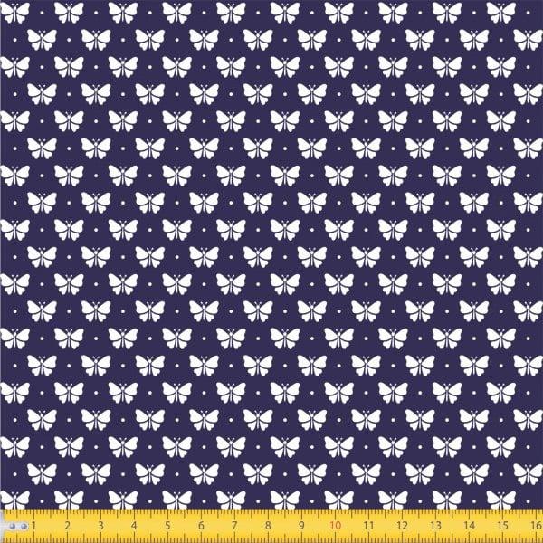 Tecido Tricoline Estampado Borboletas Fundo Azul Marinho 1228v605