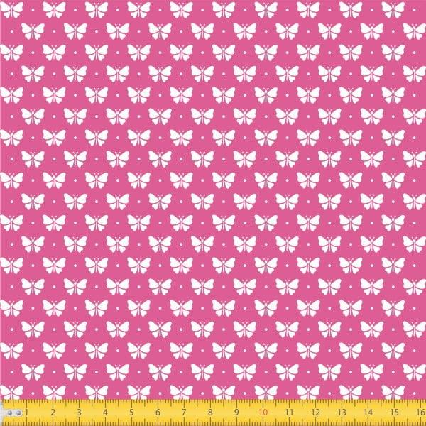 Tecido Tricoline Estampado Borboletas Fundo Rosa Escuro 1228v108