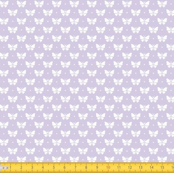 Tecido Tricoline Estampado Borboletas Fundo Lilás 1228v132
