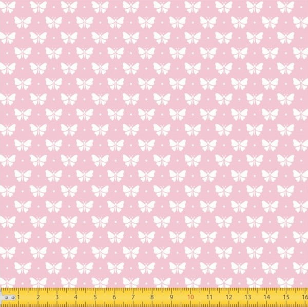 Tecido Tricoline Estampado Borboletas Fundo Rosa Bebe 1228v081