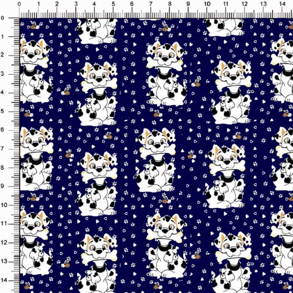 Tecido Tricoline Estampado Cãozinho e Abelha Marinho 5371v03