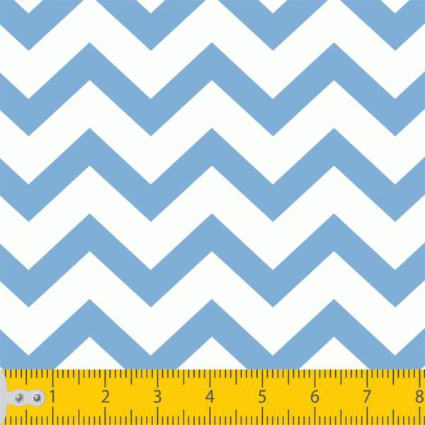 Tecido Tricoline Estampado Chevron Azul Claro e Branco 1068v6