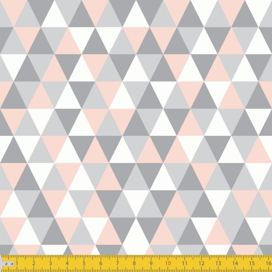Tecido Tricoline Estampado Losango Cinza Rosa Claro 3048v02