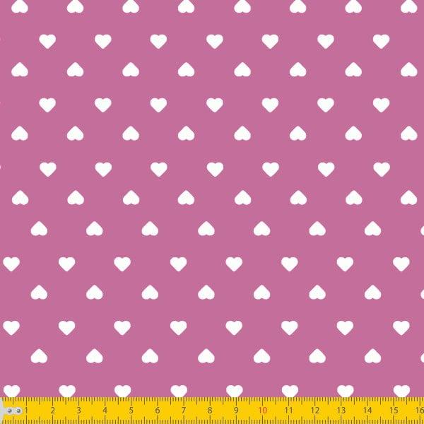 Tecido Tricoline Estampado Corações Branco Fundo Pink 1302v108