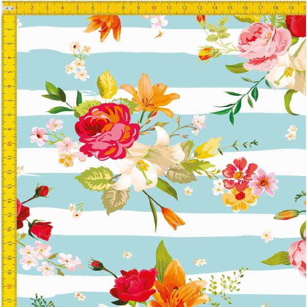 Tecido Tricoline Estampado Digital Floral 9030E034