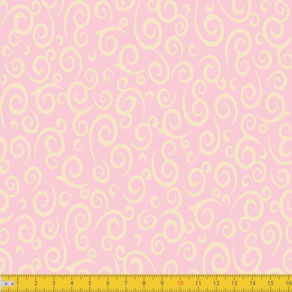 Tecido Tricoline Estampado Espiral Rosa Must Have 1255v09