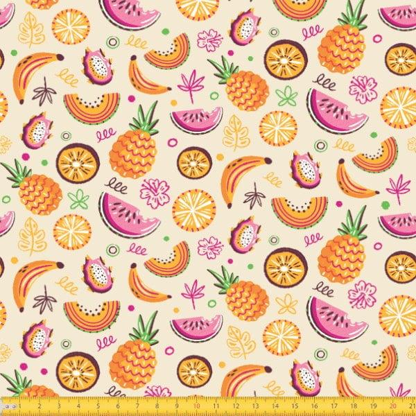 Tecido Tricoline Estampado Frutas 7091v01