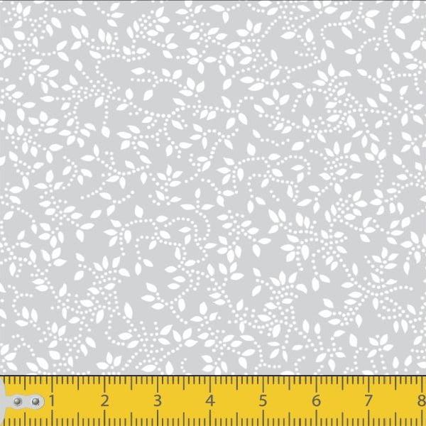 Tecido Tricoline Estampado Floral Ramificado Cinza 1047v091