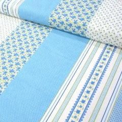Tecido Tricoline Estampado Floral Barrado Fundo Azul 16230c5