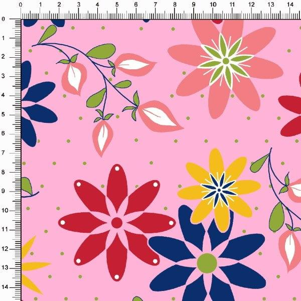 Tecido Tricoline Estampado Floral Colorido Fundo Rosa 6462v05