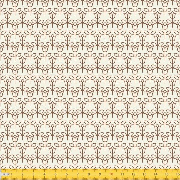Tecido Tricoline Estampado Floral Fundo Bege 1650v057