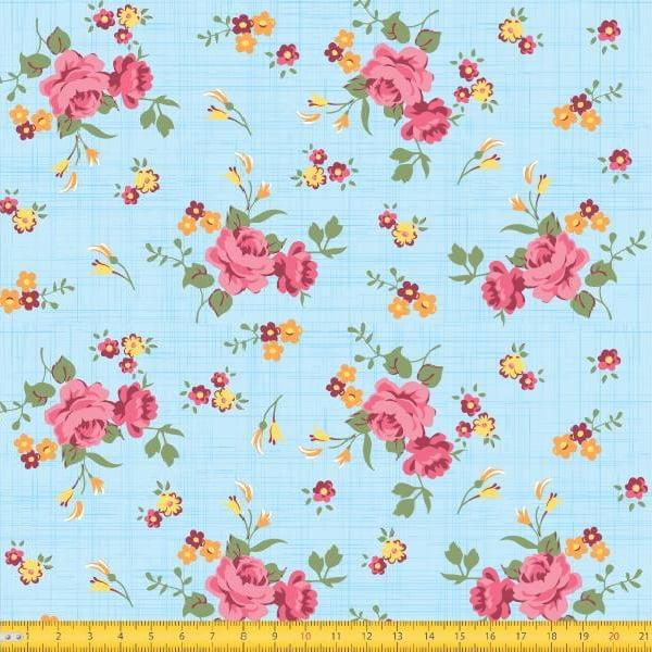 Tecido Tricoline Estampado Floral Rosa Fundo Azul Claro Riscado 8017v3