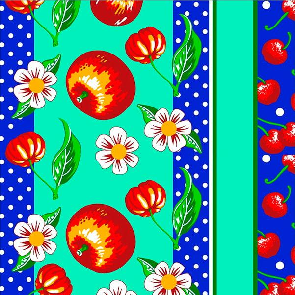 Tecido Tricoline Estampado  Frutas e Flores Fundo Azul 2710v2
