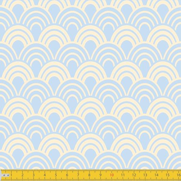 Tecido Tricoline Estampado Horizonte Azul Bebê Must Have  1243v10