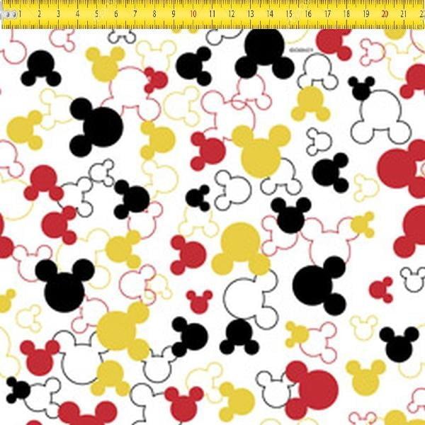 Tecido Tricoline Estampado Mickey Mouse Silhueta MK009C01