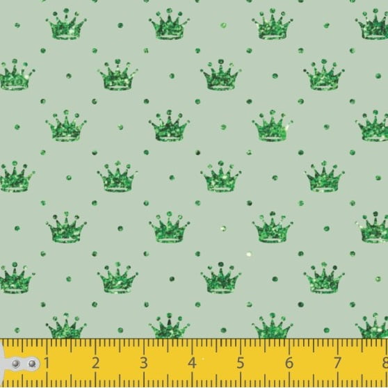 Tecido Tricoline Estampado Mini Coroa Fundo Verde Bebe 1143v02